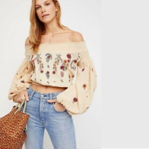 3f63989ef89d1 Free People Saachi Embroidered Off The Shoulder Top Natural Medium-M ...