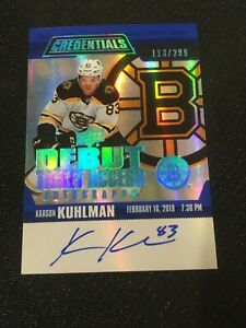 2019-20 Upper Deck Credentials Debut Ticket Access Karson Kuhlman auto RC /299