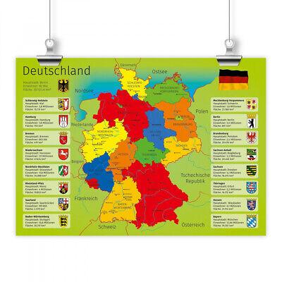 Kinder Lernposter Deutschland A1 A2 A3 Deutschlandkarte