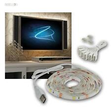 "TV Hintergrundbeleuchtung, LED Leisten Strip Set, USB, 42-65"" warmweiß 107-165cm"