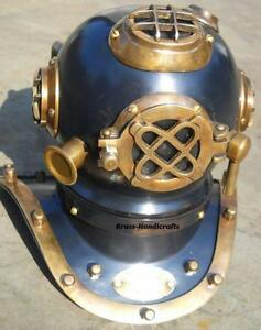 Mark IV U.S. Navy Mini Diving Helmet Deep Sea Divers Helmet Steel & Brass 7''