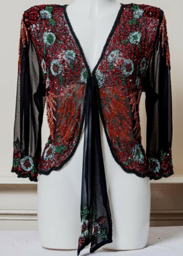 NEW PRETTY SEQUIN JACKET WEDDING RED CARDIGAN BLACK PARTY BLAZER SEQUINNED SMART