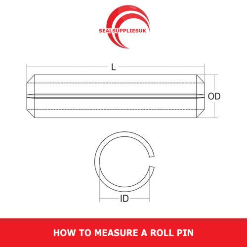 """DO Fessurata ROLL PIN tensione della molla PIN 3//32/"""" DIAMETRO ESTERNO varie lunghezze"""