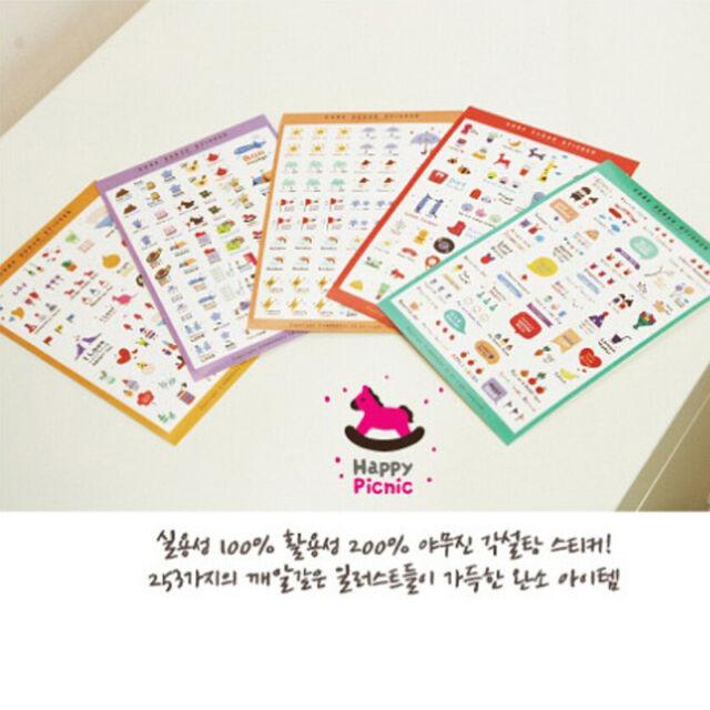6 Sheets Cartoon Lovely Scrapbooking Diary Decor Phone Sticker Adhesive New