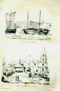 PHILIPPINES-MANILA-CUSTOM-HOUSE-FRANCISCO-CHURCH-Original-1835-Antique-Print