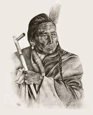 Native American Fine Art Artwork Print Indian Chief Western Southwest Black Wolf