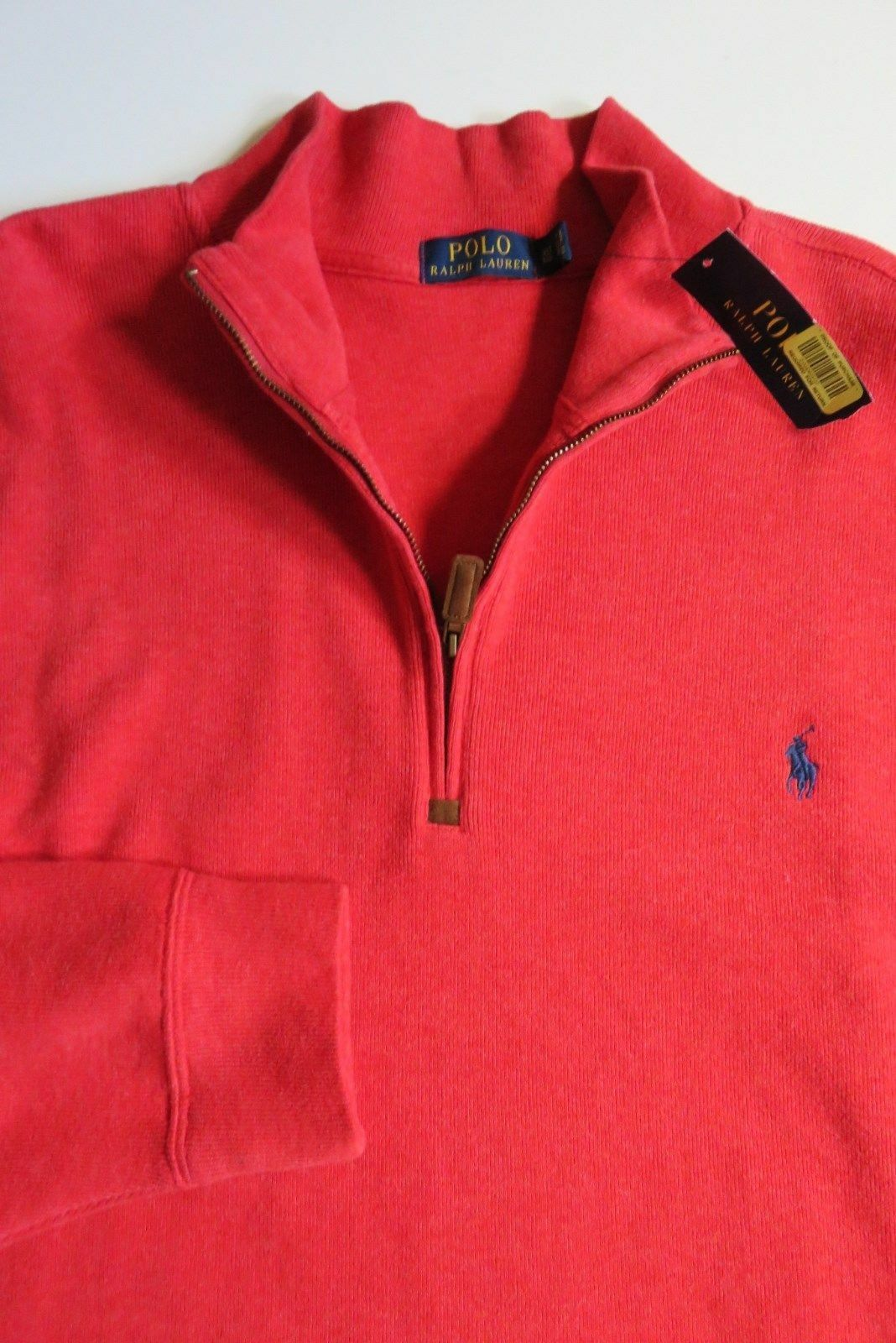 Nwt Polo Ralph Lauren Red 1 4 Zip French Ribbed Cotton Pony Logo Sweater 2XB