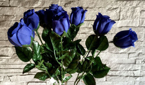 10 x Rose// Rosenknospen  blau  Kunstblumen Seidenblumen