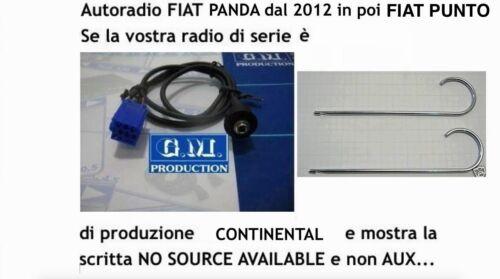 """Cavo Aux pannello MP3 Fiat Panda Punto dal 2013 con /""""NO SOURCE AVAILABLE/"""" 1,4mt"""