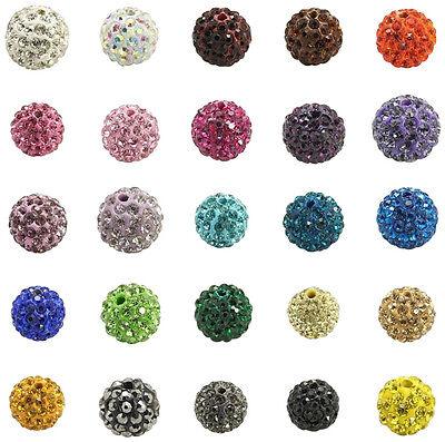 """Shamballa Style """"A"""" Grade Rhinestone Clay Pave Disco Beads - 10mm - lady-muck1"""