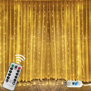 300-LED-Curtain-String-Fairy-Light-Christmas-Wedding-Lighting-Waterfall-New