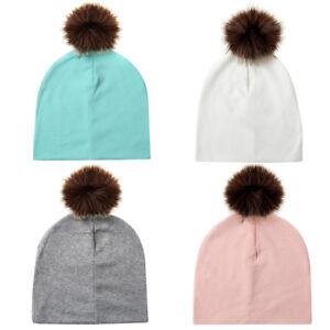 Bébé Enfant Coton Bonnet Tricot Détachable Pompon Chapeau Mode Chaud ... 0e7410a22b4