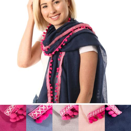 Women/'s Pom Pom Border Scarf Shawl Wrap Stole UK Seller Embroidery 50th Birthday