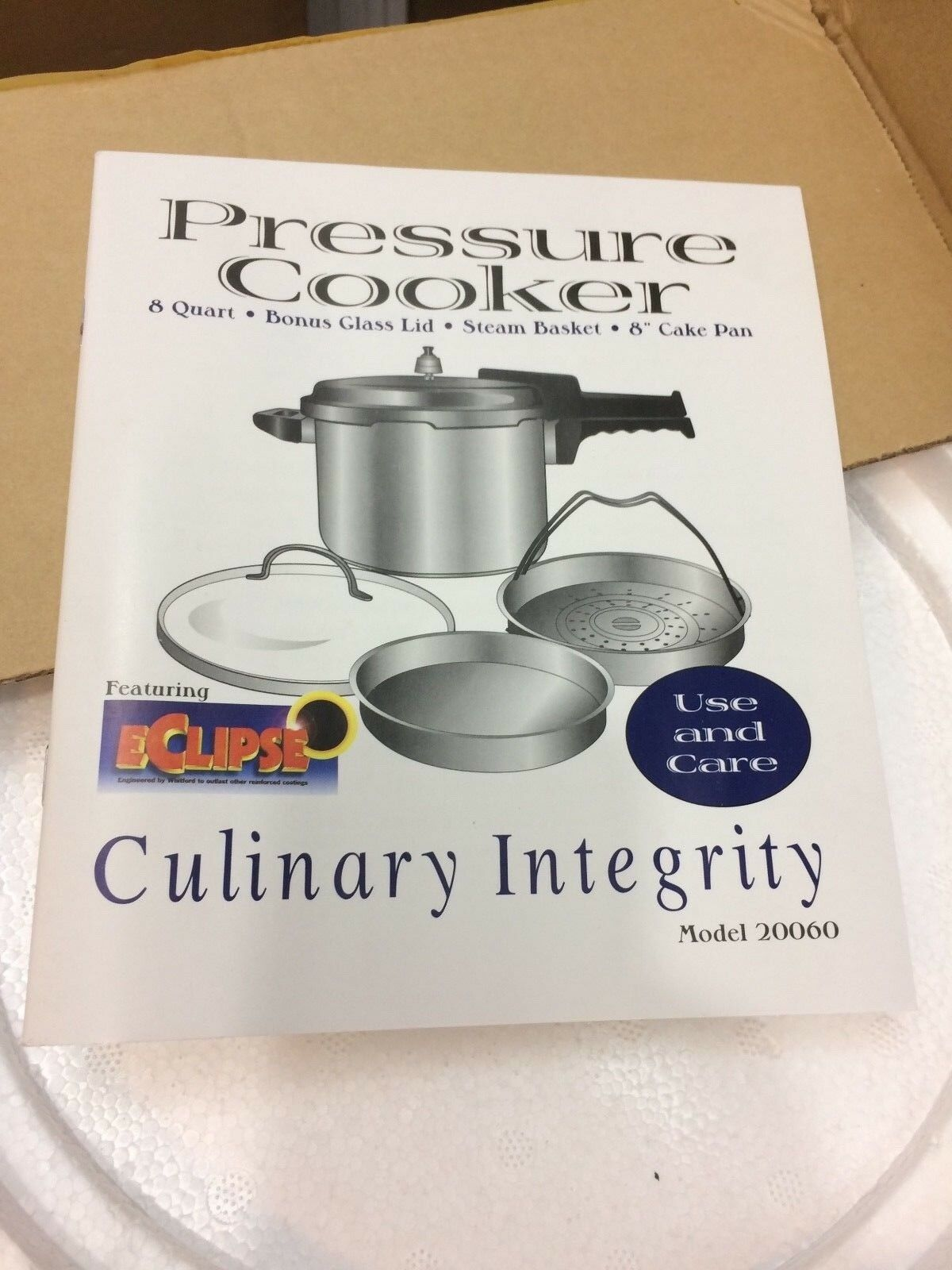 New Culinary Integrity Pressure Cooker 8 Qt Stainless W Steam Basket Glass Lid +