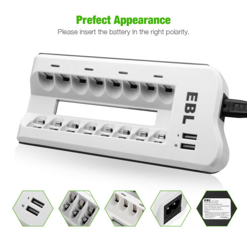 2 Smart USB Charging Port 8 Bay Battery Charger for Rechargeable AA AAA Ni-MH