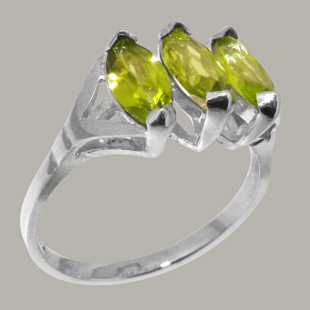 Solid 10k White gold Natural Peridot Womens Trilogy Ring - Sizes 4 to 12
