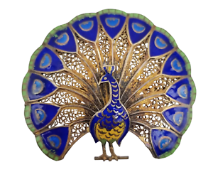 Vintage-Peacock-Brooch-Pin-Vermeil-Enamel-Filigree-Made-in-Portugal-1-5-034-x-1-3-4