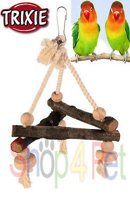 TRIXIE NATURAL WOOD & PURE COTTON ROPE SWING - BUDGIE, CANARY or SMALL BIRDS