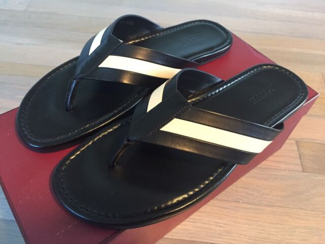 e0228f40abe9 Bally Venzio Black Leather Sandals Size US 12.5 Made in Italy for ...