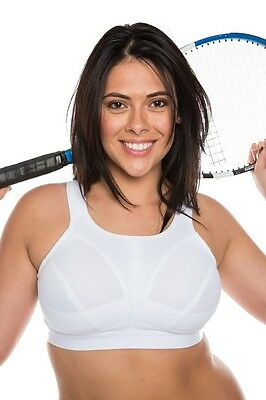 White Sports Bra High Impact Full Support Non Wired Plus Size 34-46 Cups D to J