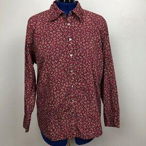 Eddie-Bauer-Women-Size-XXL-Red-Floral-Long-Sleeve-Button-Down-Shirt-100-Cotton