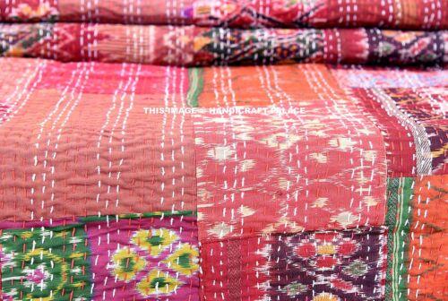 Indian Vintage Patola Silk Sari Kantha Quilt Patchwork Bedspread Throw Gudari