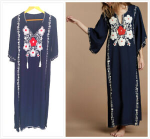99708a0e89 Image is loading AU-STOCK-SOFT-COTTON-EMBROIDER-KAFTAN-TUNIC-KIMONO-