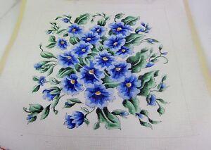 "Handpainted Needlepoint Canvas Signed Morning Glory Pillow OOAK 3 Str Custom 16"""