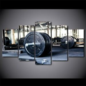 weightlifting sports gym fitness 5 pieces canvas wall art