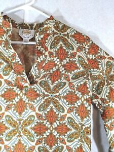 TALBOTS-Petites-Women-039-s-100-Pure-Silk-Blouse-Paisley-Cream-Orange-Brown-Size-6