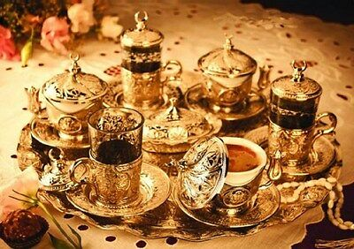 Authentic Turkish Coffee Tea Water Set 6 Cup Glass Saucer Cover Ottoman Gold