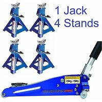 Combo 1.5 Ton Low Profile Rapid Compact Aluminum Floor Jack W/ (4) 3 Ton Stands