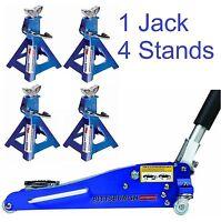 Combo 1.5 Ton Low Profile Rapid Compact Aluminum Floor Jack W/ (4) 3 Ton Stands