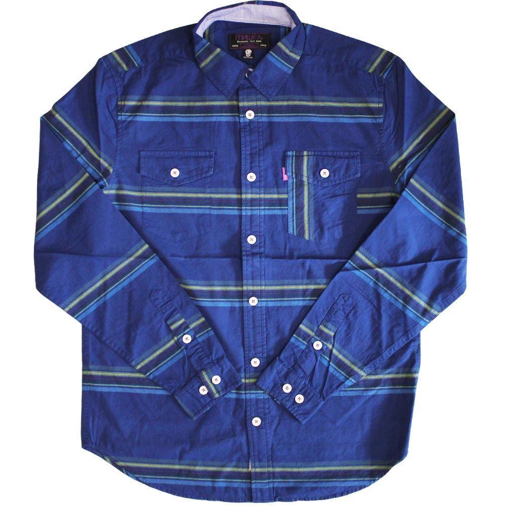 Mishka Flatliner Button Down Long Sleeve Shirt bluee