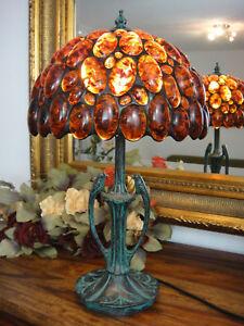 Luxus-Bernsteinlampe-Tischleuchte-Edelstein-Lampe-Bernstein-Tischlampe-Tiffany