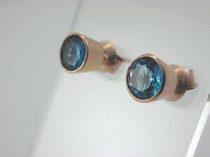 Beautiful-Blue-Topaz-Stud-Earrings-9-carat-rose-Gold-butterfly-backs