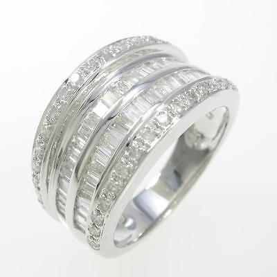 Authentic K18 White Gold Diamond ring  #260-001-664-1594