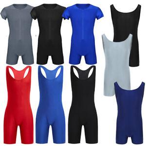 Men-039-s-Bodysuit-Wrestling-Singlet-Jumpsuit-Underwear-Jogging-Leotard-Fitness-Vest