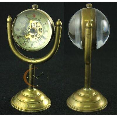 Archaize Bronze Copper Stand Pocket Watch Antique Mechanical Glass Ball Case