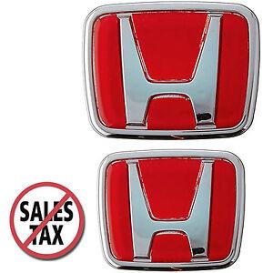 Red Honda Emblem JDM Style Type R Acura Civic Integra Accord RSX - Red acura emblem