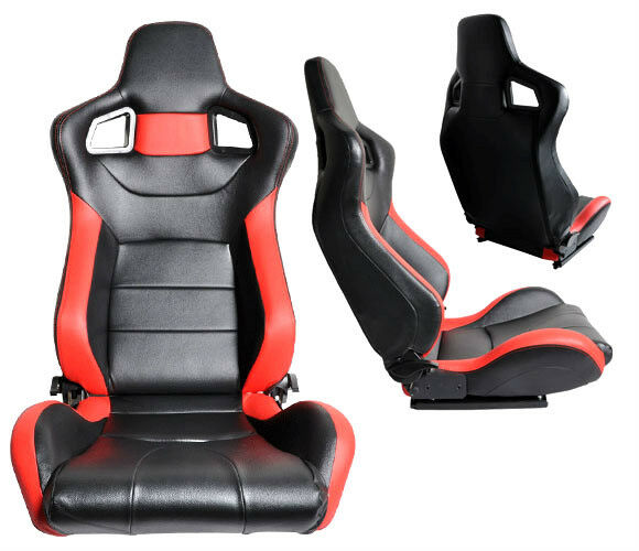 2 BLACK & RED PVC LEATHER RACING SEATS FOR ALL ACURA