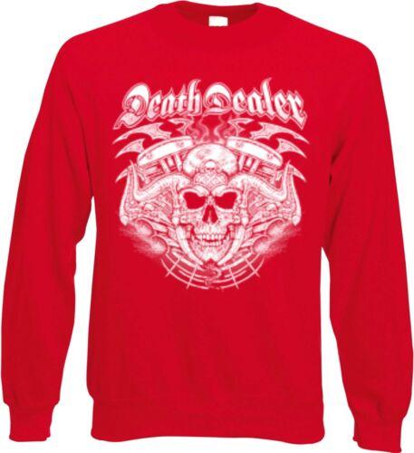 Sweatshirt in rot mit einem Biker-,Chopper-/&Old Schoolmotiv Modell Death Dealer