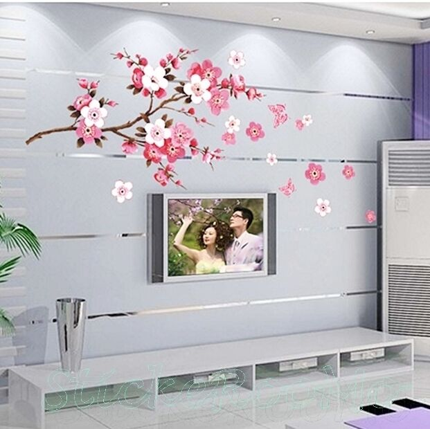 PEACH BRANCH FLOWERS BUTTERFLY HUGE WALL ART STICKERS DECAL HOME DECORATION