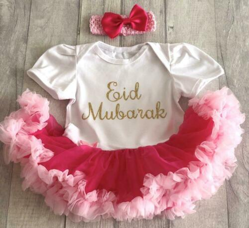 BABY GIRL/'S EID MUBARAK Tutu Romper Dress NEWBORN Present Family RAMADAN Love