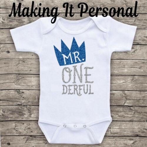 Mr One Derful Boys 1st Birthday Cake Smash Bodysuit Vest