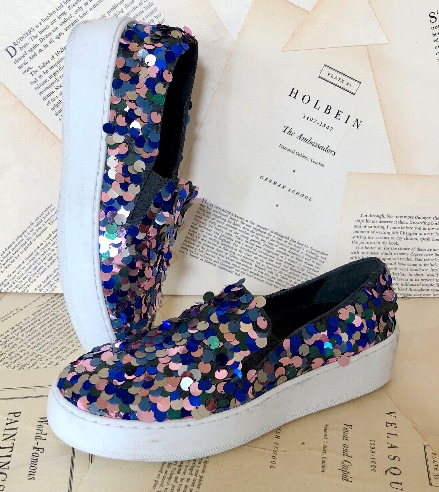NEW Blau Free People silver pink Blau NEW Multi Farbe Sequin Slip On Sneakers 36 / 5.5-6 e269b2