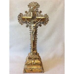 Crucifix-Christ-cross-Wood-Brass-Metal-Jesus-Jesus-cross-XVIII-19th
