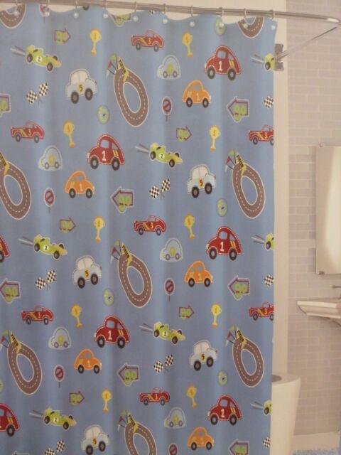 Bambini By Kassatex Race Track 100 Cotton Fabric Shower Curtain 72 X