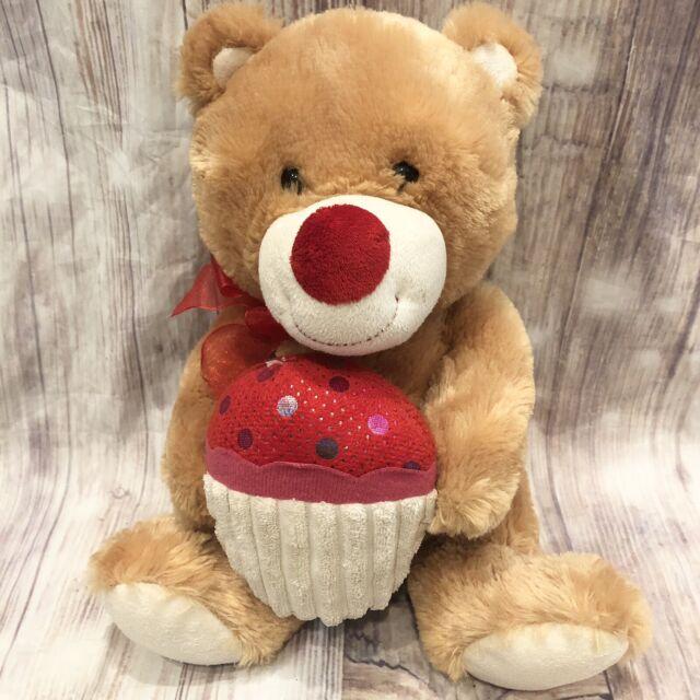 Goffa International Brown Teddy Bear Holding Cupcake -3195