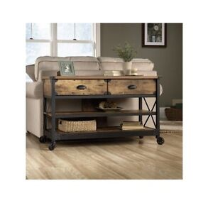 Image Is Loading Sofa Table With Wheels Rustic Console 2